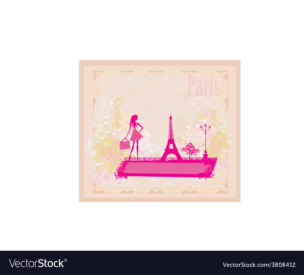 Beautiful women silhouette shopping in paris - vector | Price: 1 Credit (USD $1)