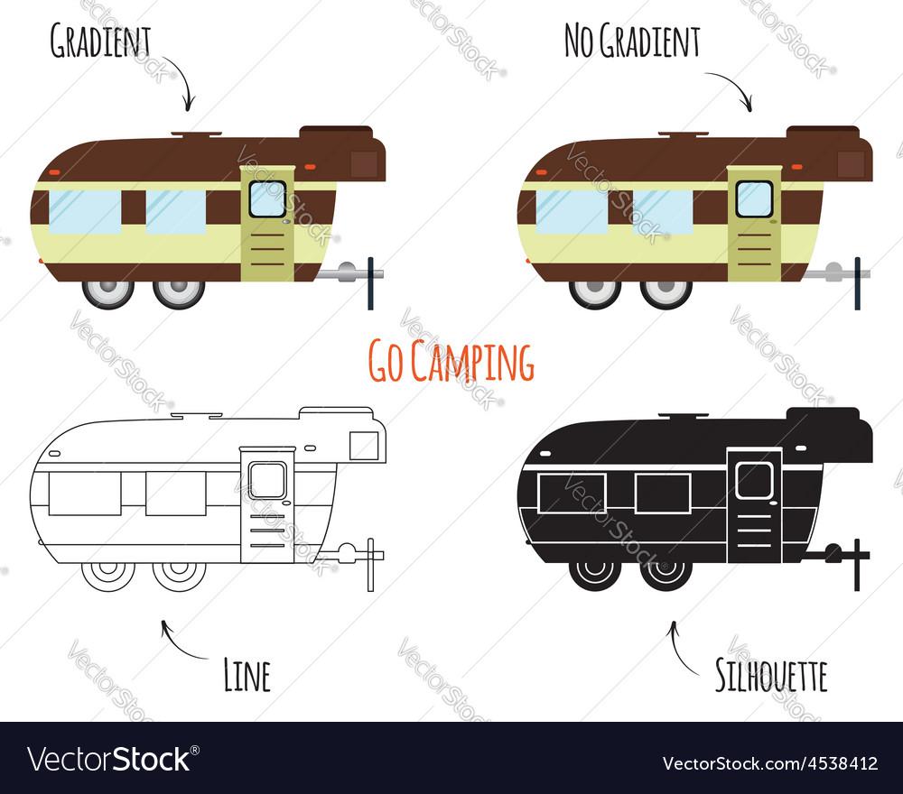 Caravan trailers isolated vector | Price: 1 Credit (USD $1)