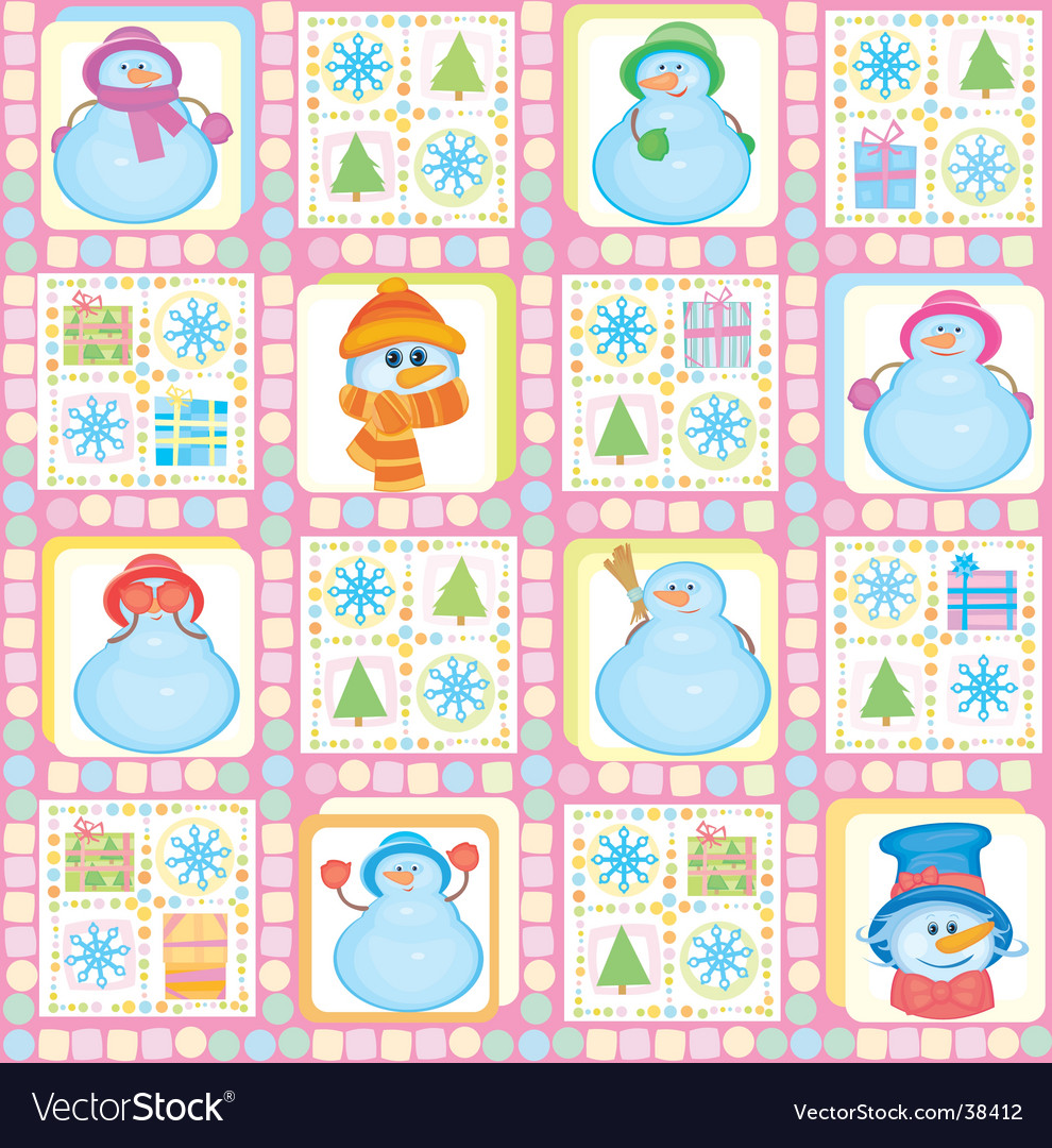 Christmas background funny snowmen vector | Price: 3 Credit (USD $3)