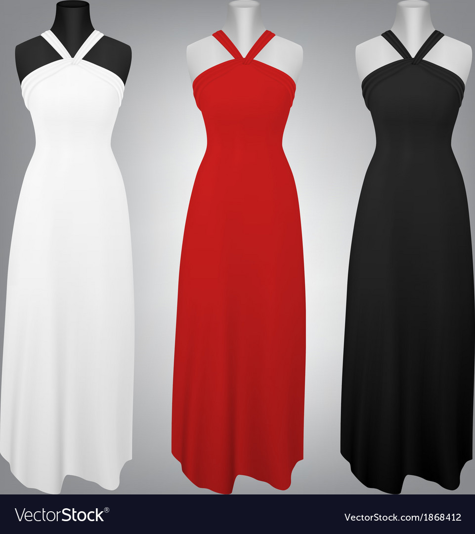 Classic female plain dress template vector | Price: 1 Credit (USD $1)