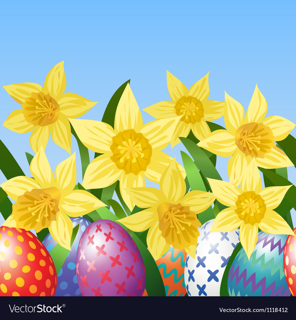 Easter eggs on meadow vector | Price: 1 Credit (USD $1)
