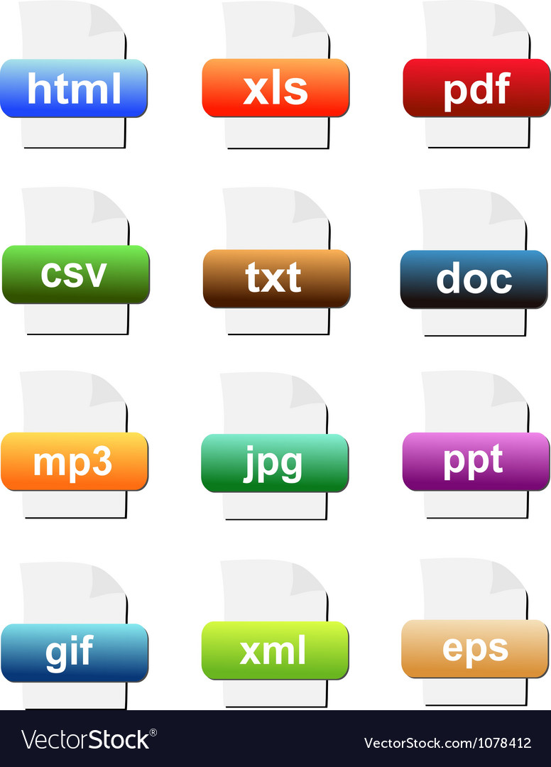 File format icons vector | Price: 1 Credit (USD $1)