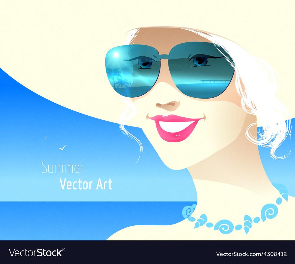 Girl wearing sunglasses vector | Price: 1 Credit (USD $1)