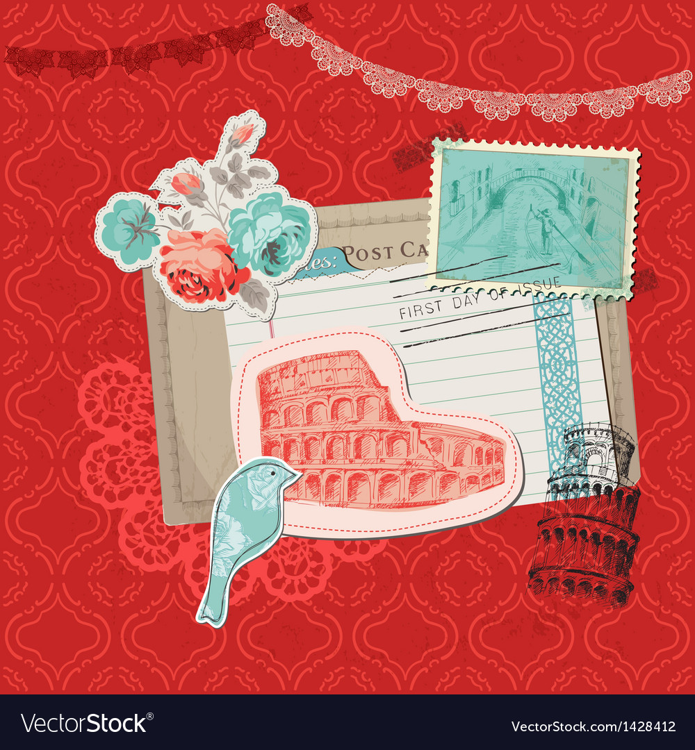 Italy vintage card with stamps vector | Price: 3 Credit (USD $3)