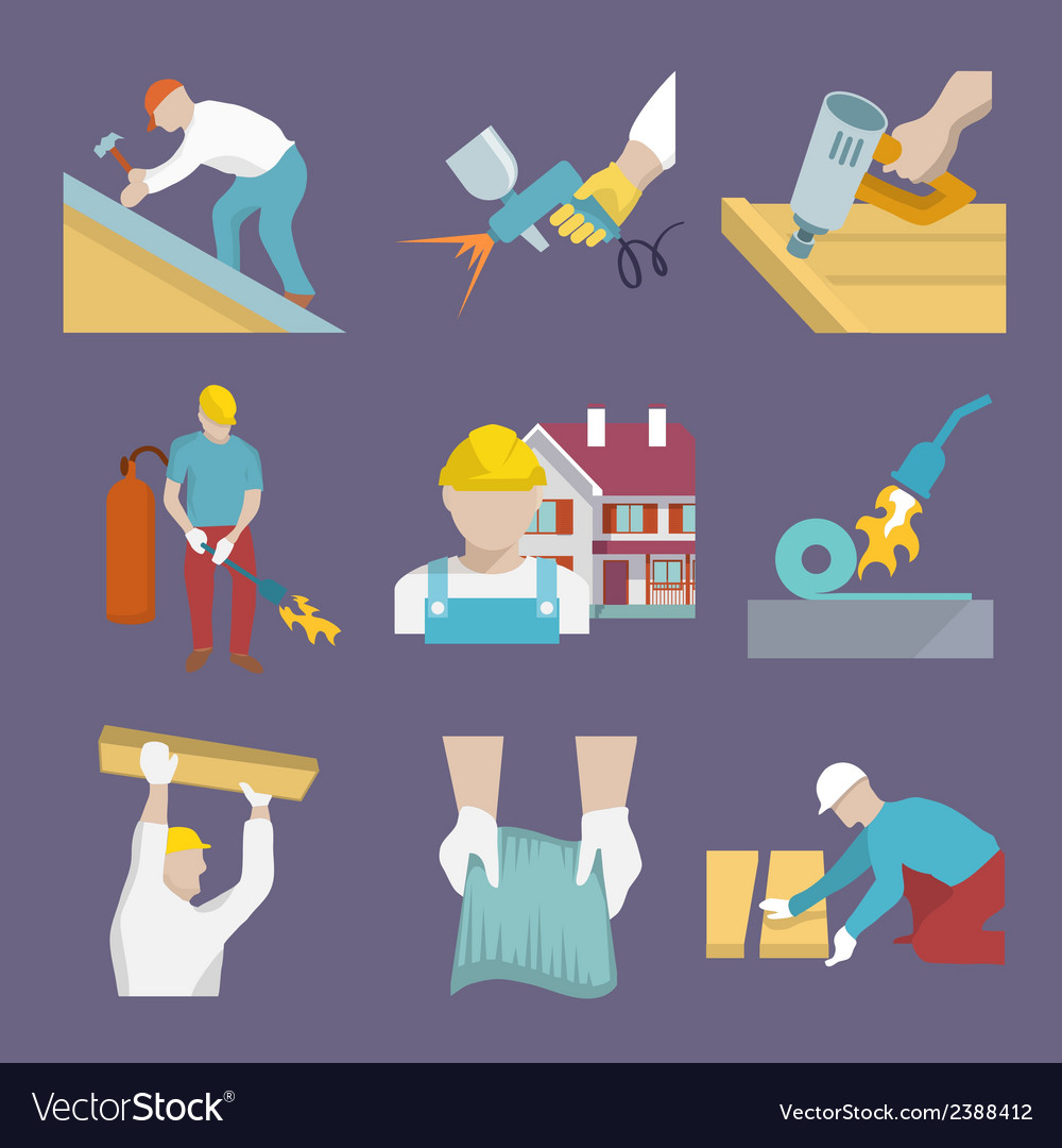 Roofer icons flat vector | Price: 3 Credit (USD $3)