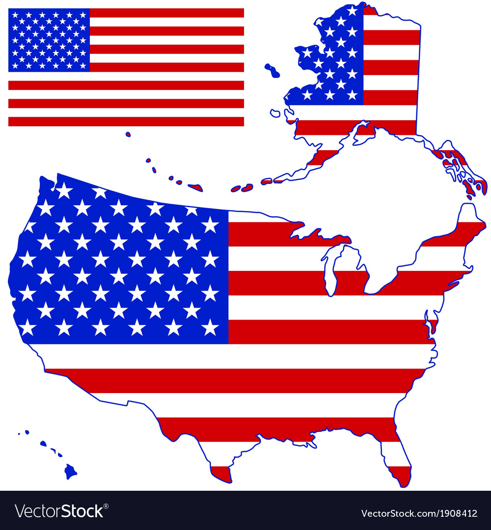Silhouette map and flag of the usa vector | Price: 1 Credit (USD $1)