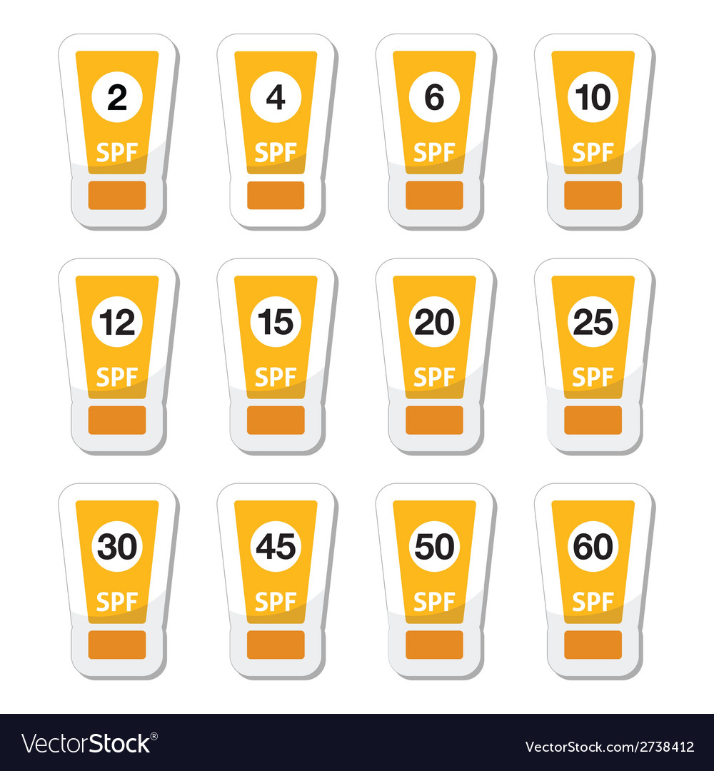 Sun cream sunblock with factor or spv icons set vector | Price: 1 Credit (USD $1)