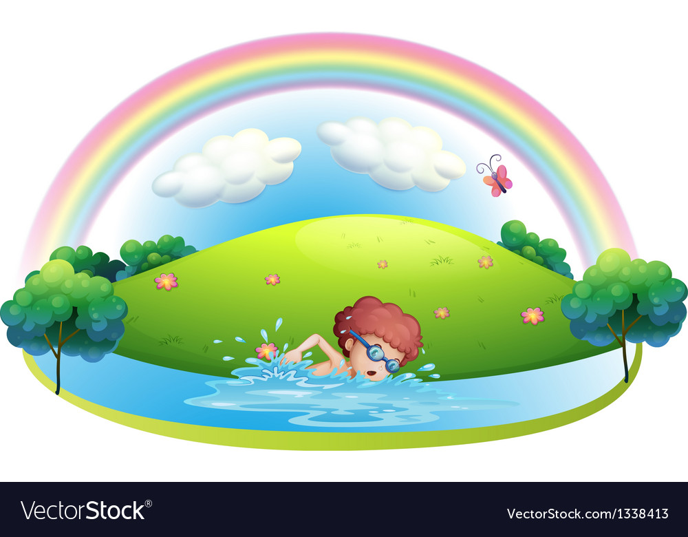 A young man swimming near the hill with a rainbow vector | Price: 1 Credit (USD $1)