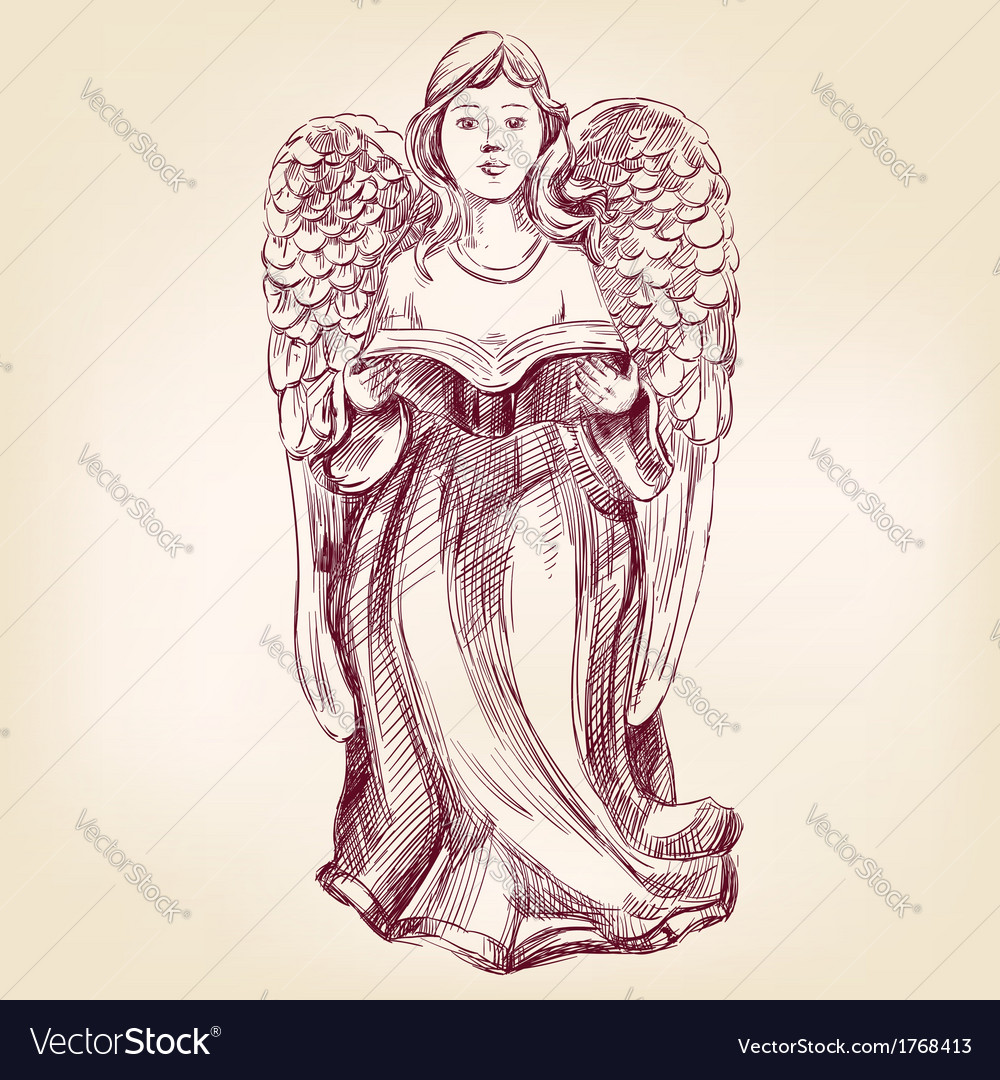 Angel hand drawn llustration vector | Price: 1 Credit (USD $1)