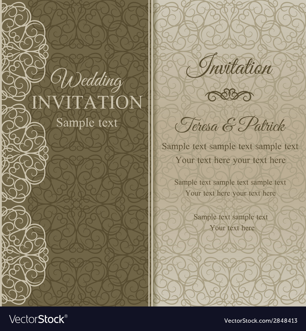 Baroque invitation dull gold vector | Price: 1 Credit (USD $1)