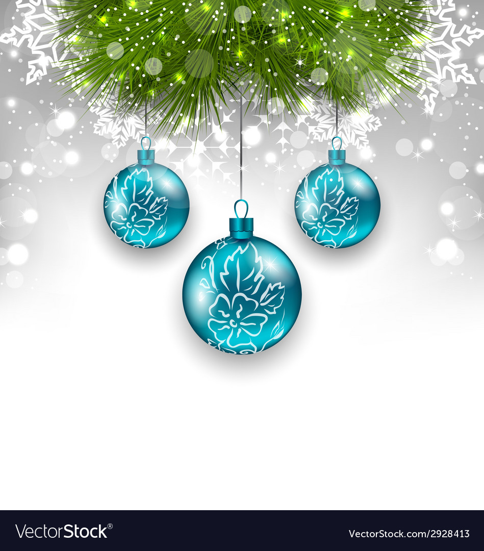 Christmas background with glass balls and fir vector | Price: 1 Credit (USD $1)