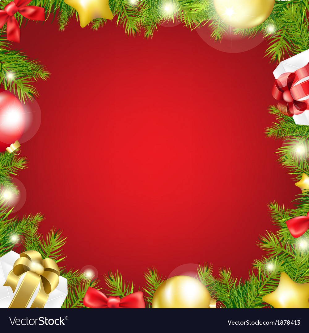 Christmas red background with ribbon and xmas ball vector | Price: 1 Credit (USD $1)