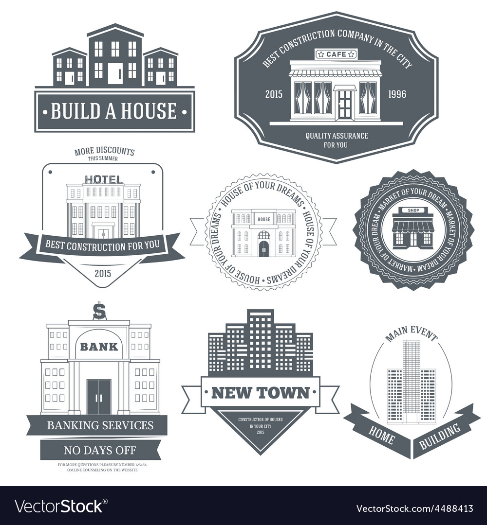 City buildings label template of emblem element vector | Price: 1 Credit (USD $1)