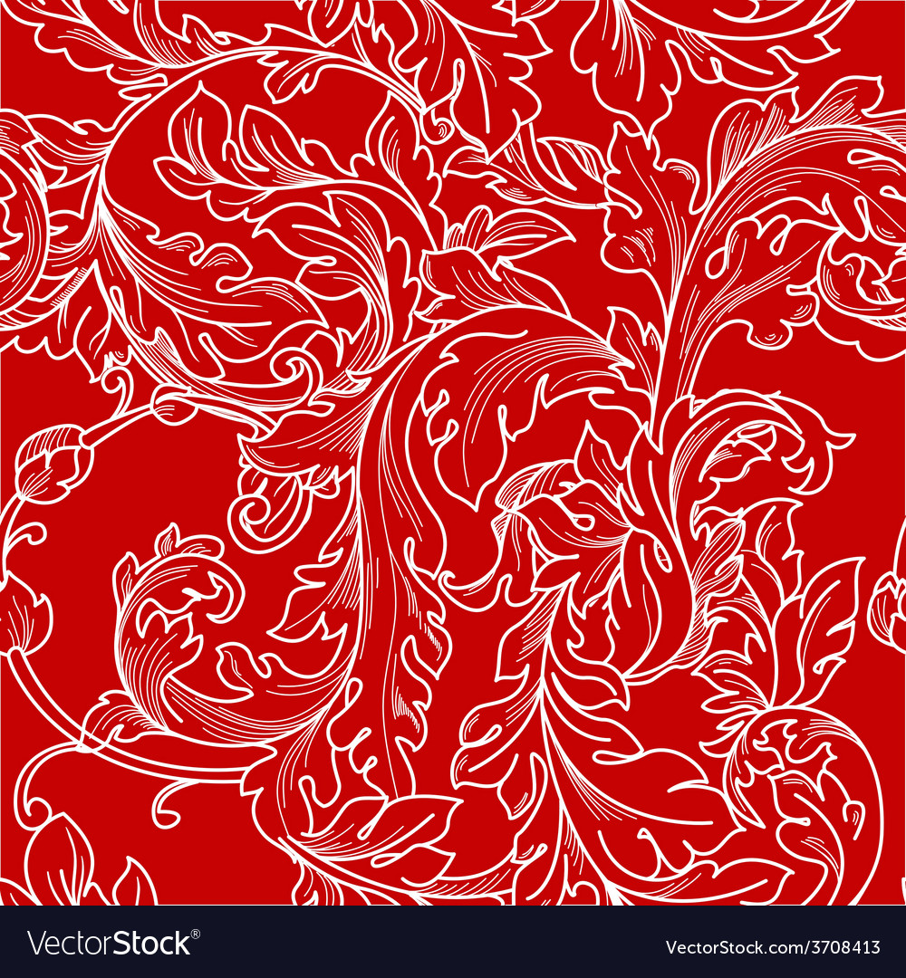 Classic baroque floral seamless pattern vector   Price: 1 Credit (USD $1)