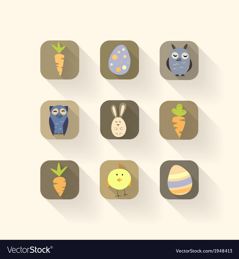 Easter icons set with long shadows vector | Price: 1 Credit (USD $1)