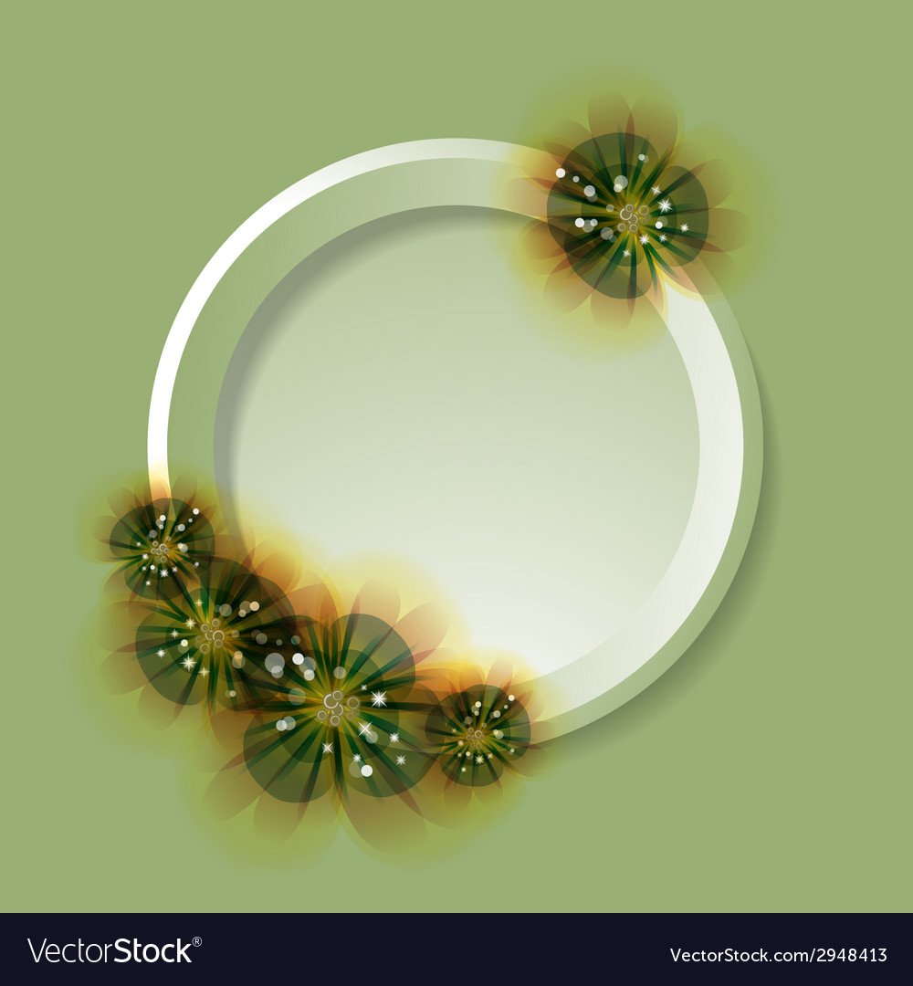 Flowers and circle on the greeting card green vector | Price: 1 Credit (USD $1)