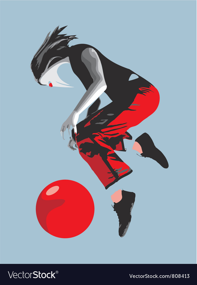 Girl ball red bird vector | Price: 1 Credit (USD $1)