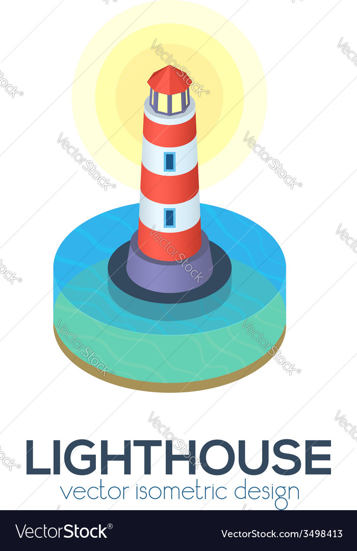 Isolated isometric lighthouse icon vector | Price: 1 Credit (USD $1)