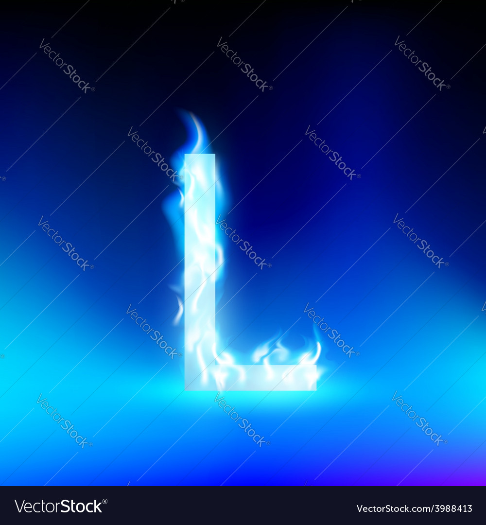 Letter with blue fire vector | Price: 1 Credit (USD $1)