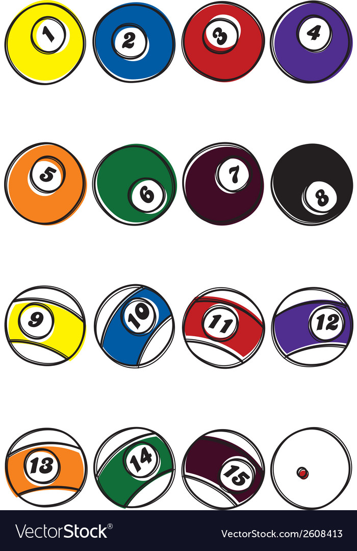 Pool ball designs vector | Price: 1 Credit (USD $1)