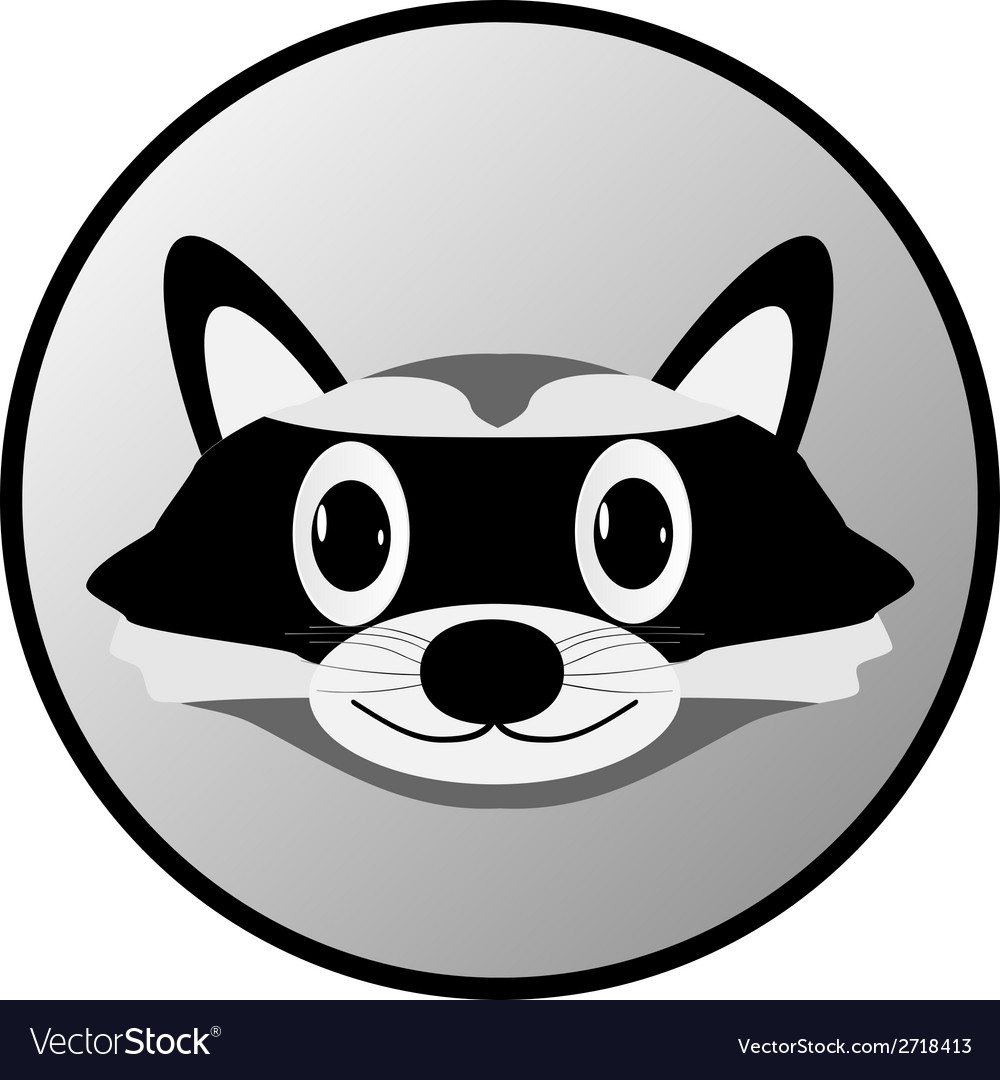 Raccoon button vector | Price: 1 Credit (USD $1)