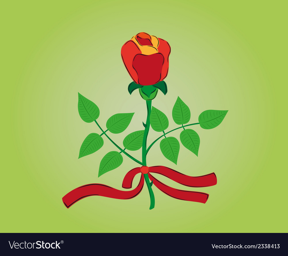 Red rose with ribbon vector | Price: 1 Credit (USD $1)