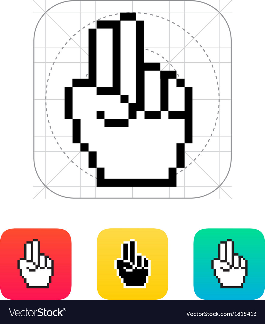 Two fingers pixel hand cursor icon vector | Price: 1 Credit (USD $1)