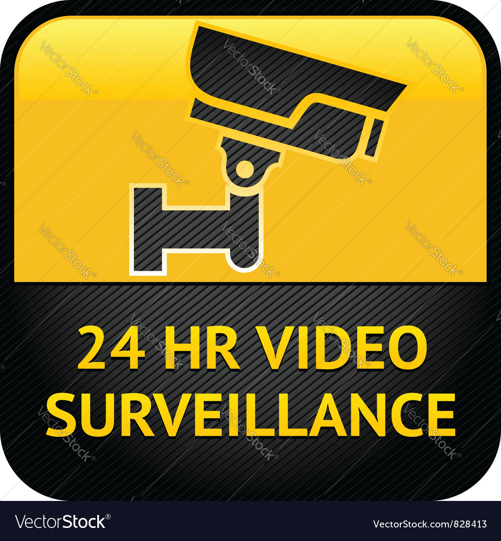 Video surveillance sign cctv label vector | Price: 1 Credit (USD $1)