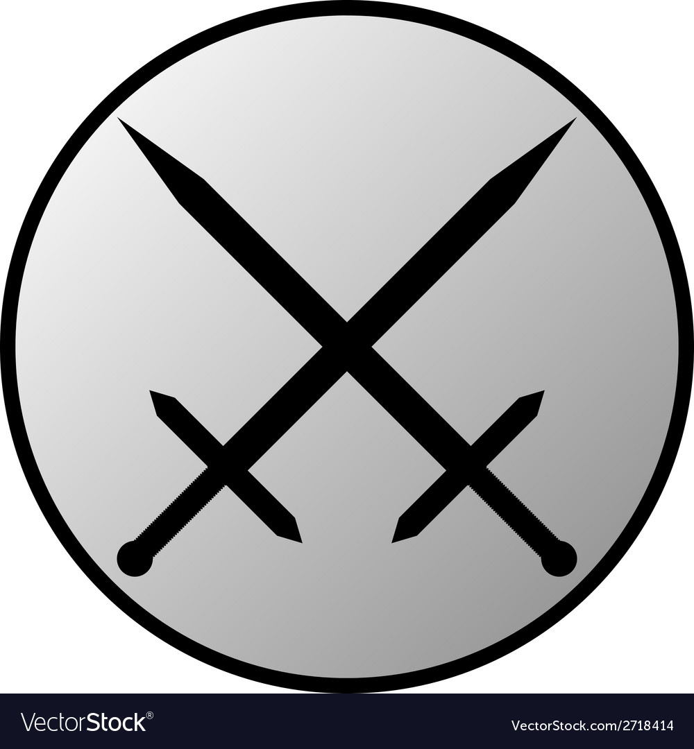 Crossed swords button vector | Price: 1 Credit (USD $1)