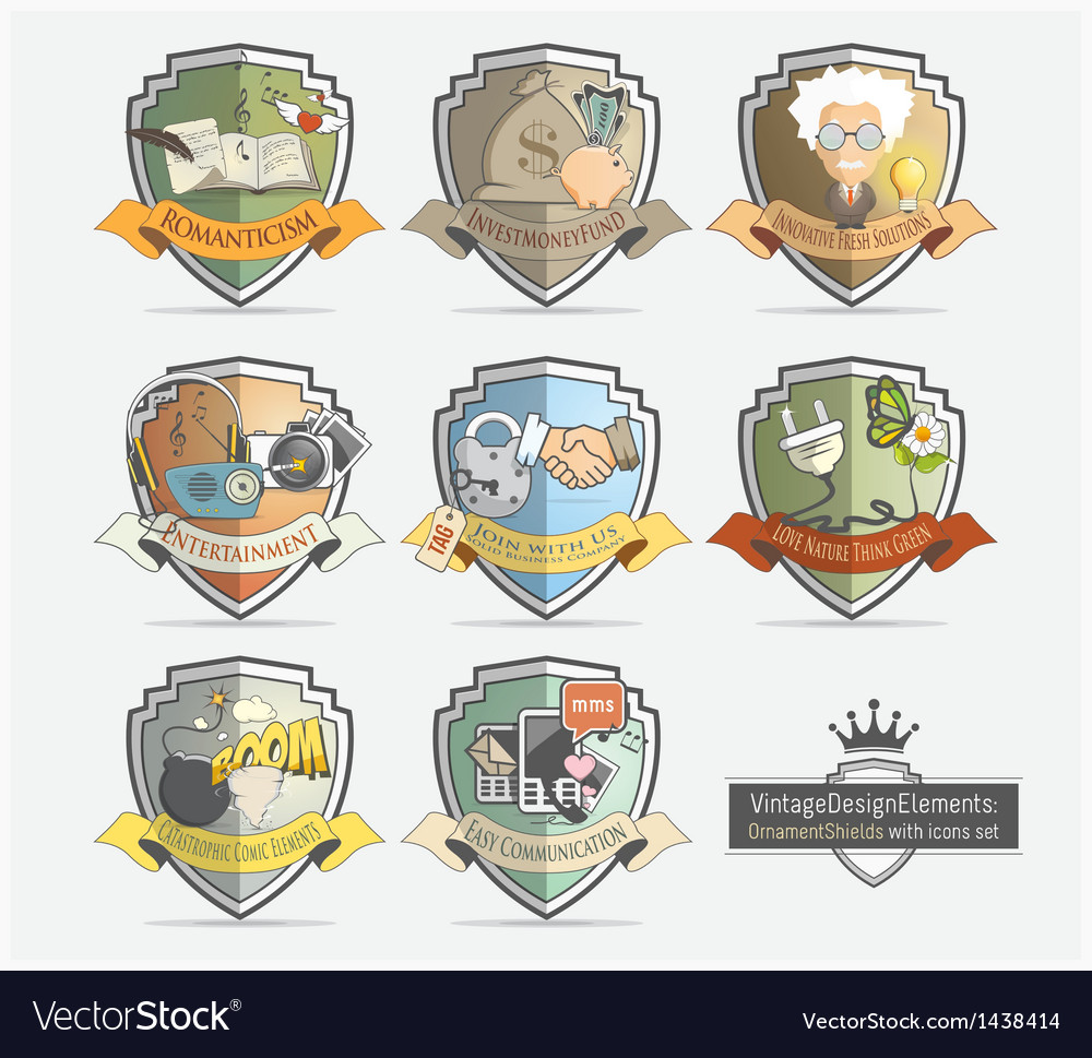 Design icons set with badges shields vector
