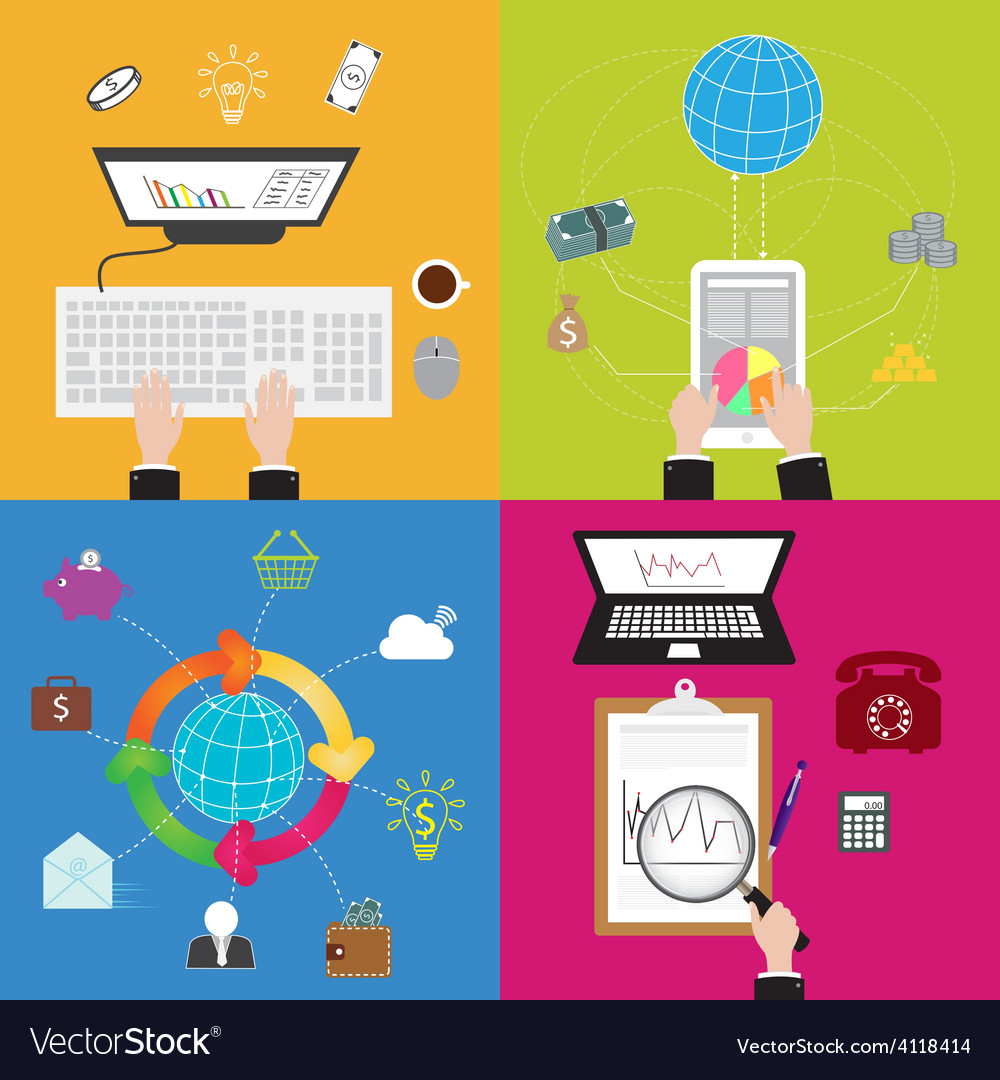 Flat business and technology concept vector | Price: 1 Credit (USD $1)