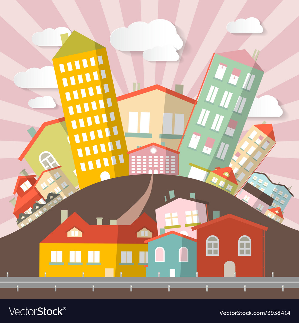 Flat design retro abstract city vector | Price: 1 Credit (USD $1)