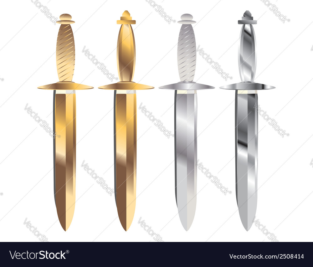 Gold and silver sheathed daggers vector | Price: 1 Credit (USD $1)