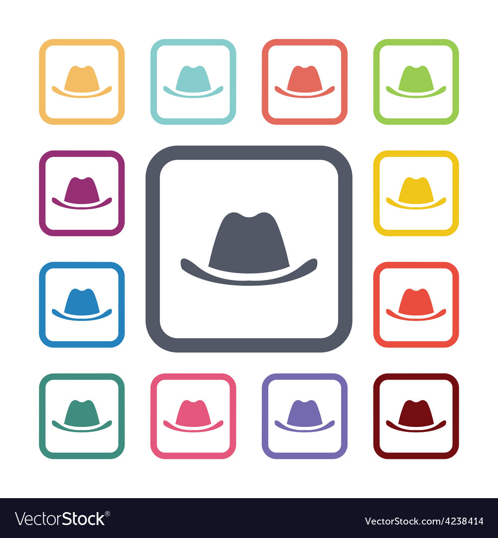 Hat flat icons set vector | Price: 1 Credit (USD $1)