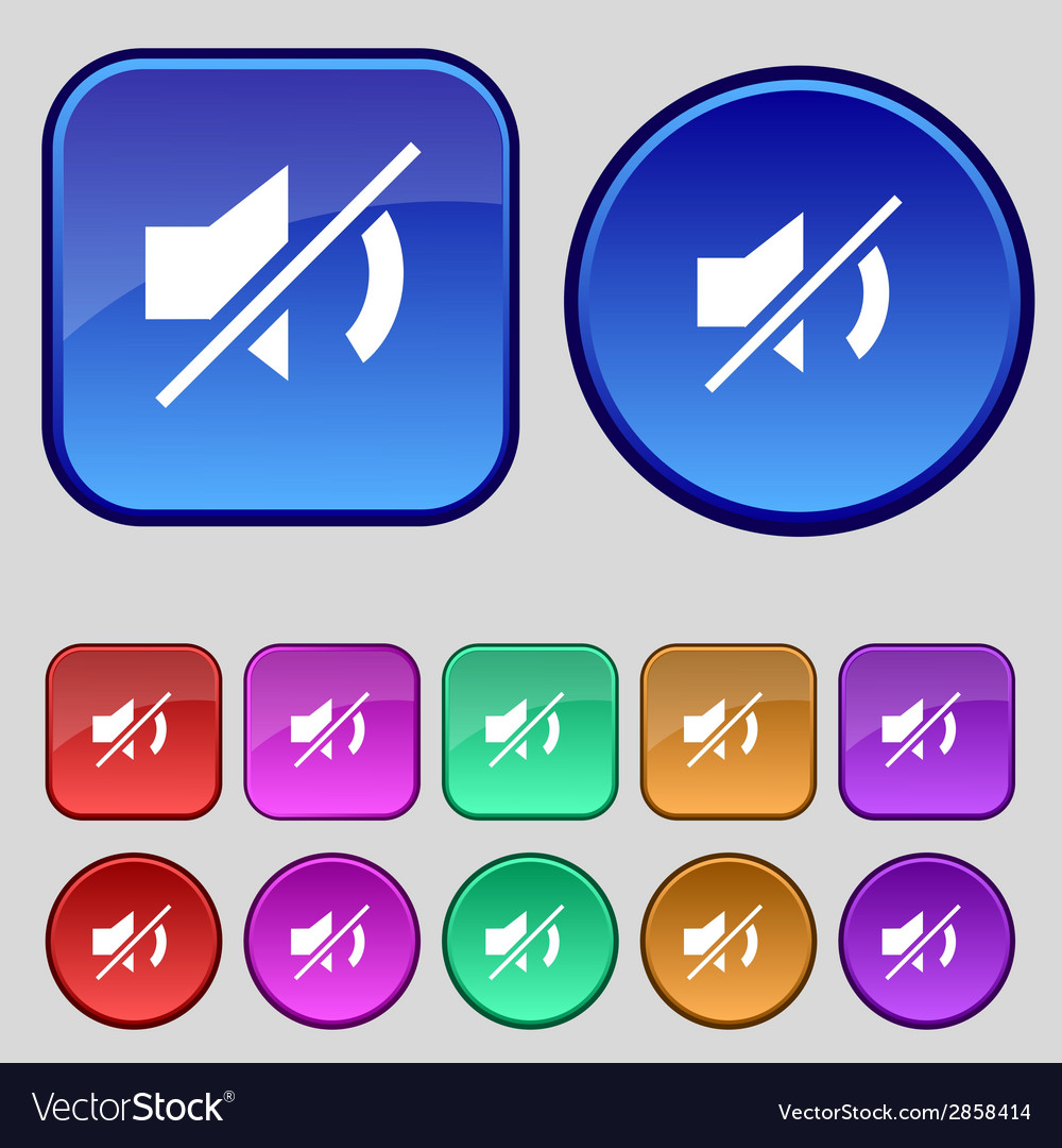 Mute speaker sign icon sound symbol set colourful vector | Price: 1 Credit (USD $1)