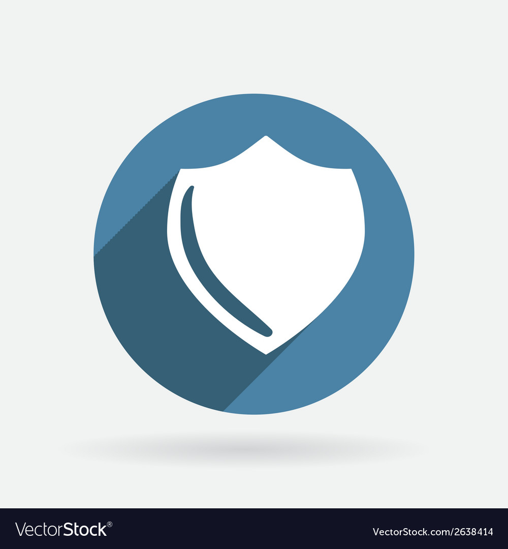 Protection shield circle blue icon with shadow vector | Price: 1 Credit (USD $1)