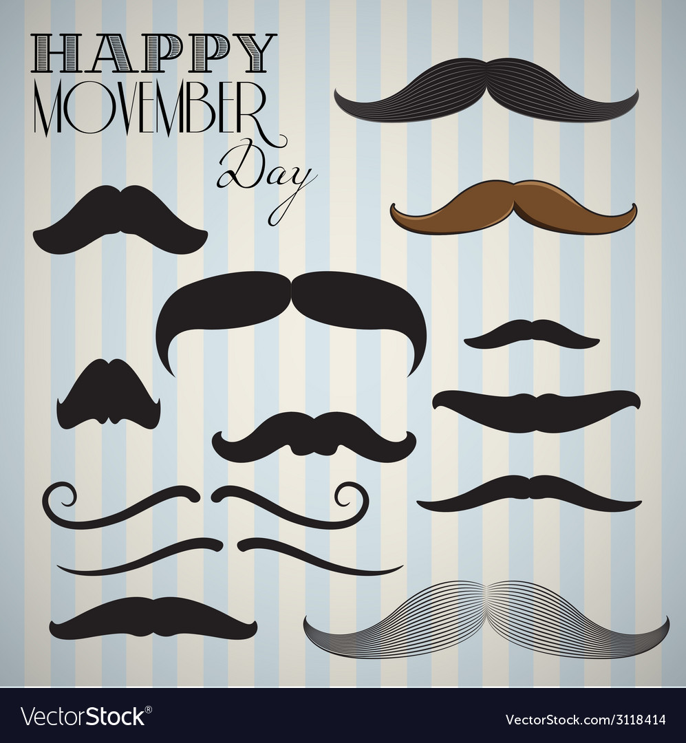 Retro vintage mustache set for happy movember day vector