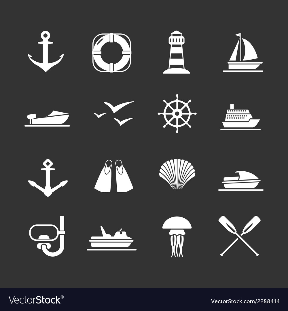 Set icons of sea beach and travel vector | Price: 1 Credit (USD $1)