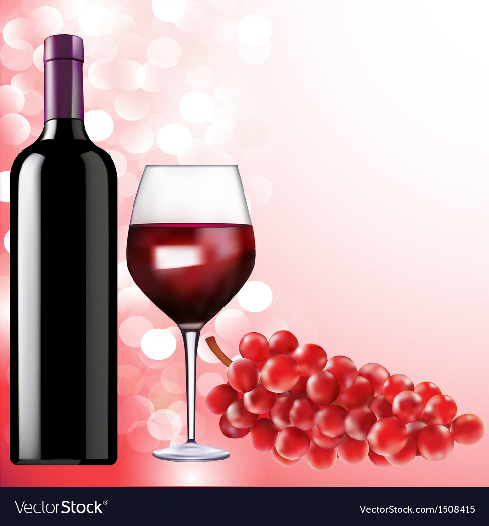 Bottle of wine glass and grapes vector | Price: 1 Credit (USD $1)