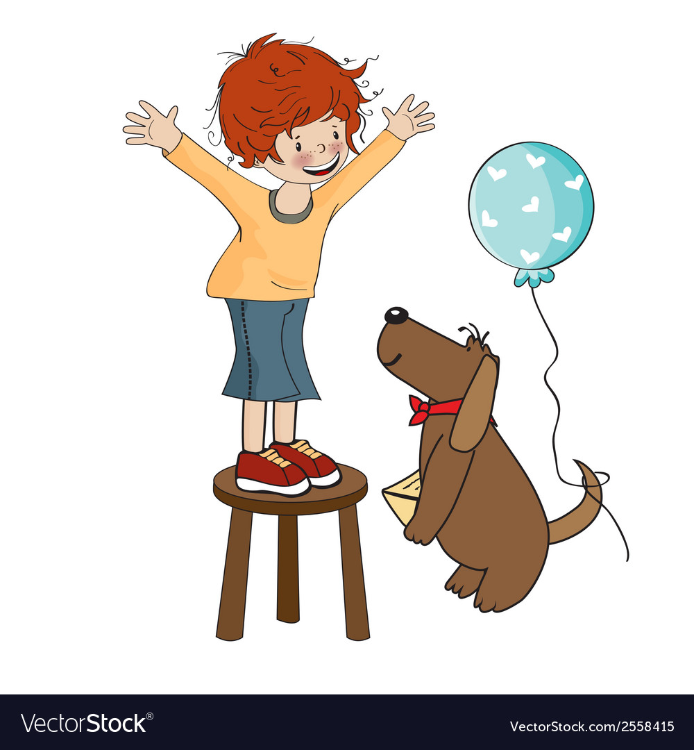 Funny boy celebrates his birthday with dog vector | Price: 1 Credit (USD $1)