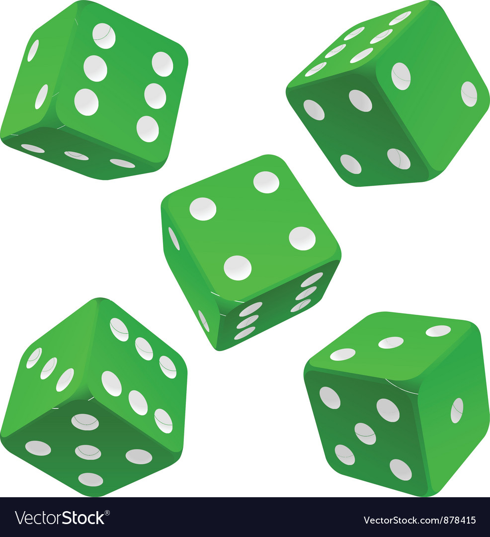 Green dice set icon vector | Price: 1 Credit (USD $1)