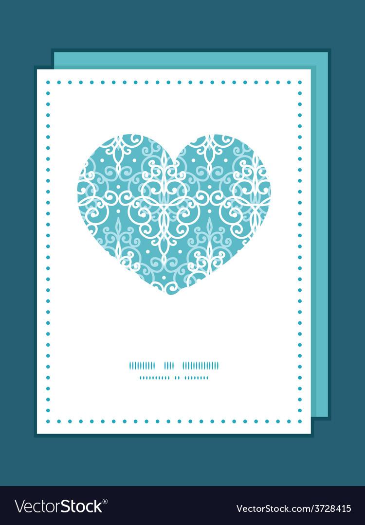 Light blue swirls damask heart symbol frame vector   Price: 1 Credit (USD $1)