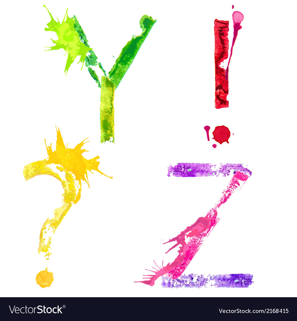 Paint splash font yz and punctuation marks vector | Price: 1 Credit (USD $1)