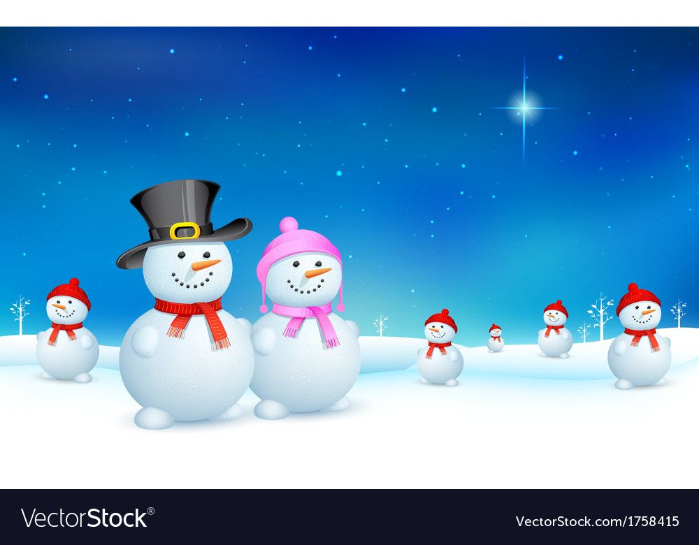 Snowman in christmas vector | Price: 1 Credit (USD $1)