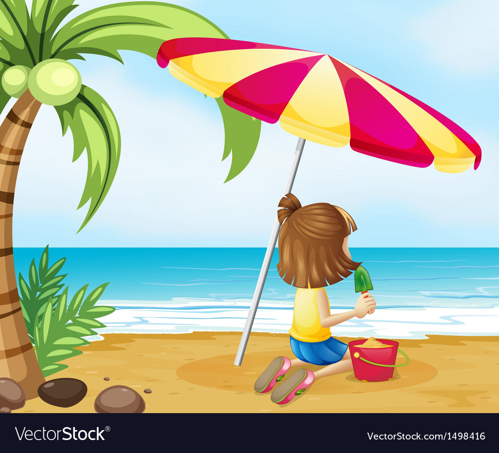 A young girl playing with the castle at the beach vector | Price: 1 Credit (USD $1)