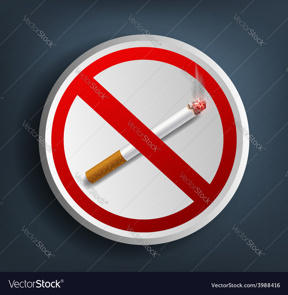 Ashtray with cigarette and prohibitory sign vector | Price: 1 Credit (USD $1)