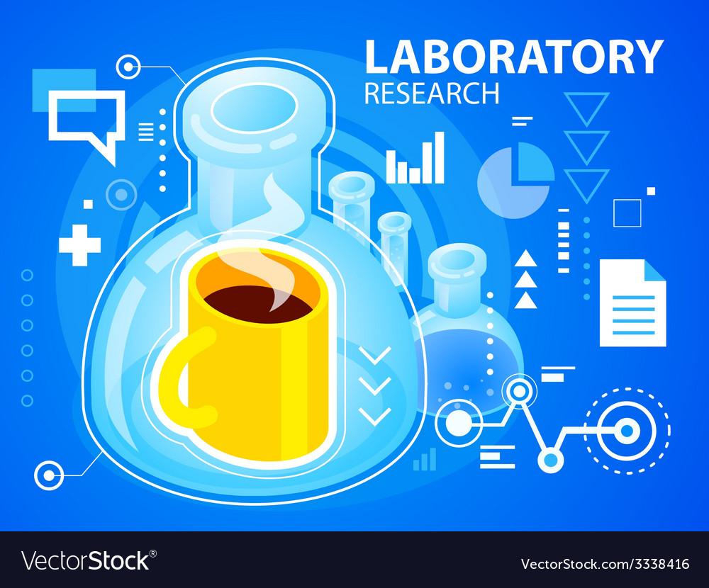 Bright laboratory research of coffee on blue vector | Price: 3 Credit (USD $3)