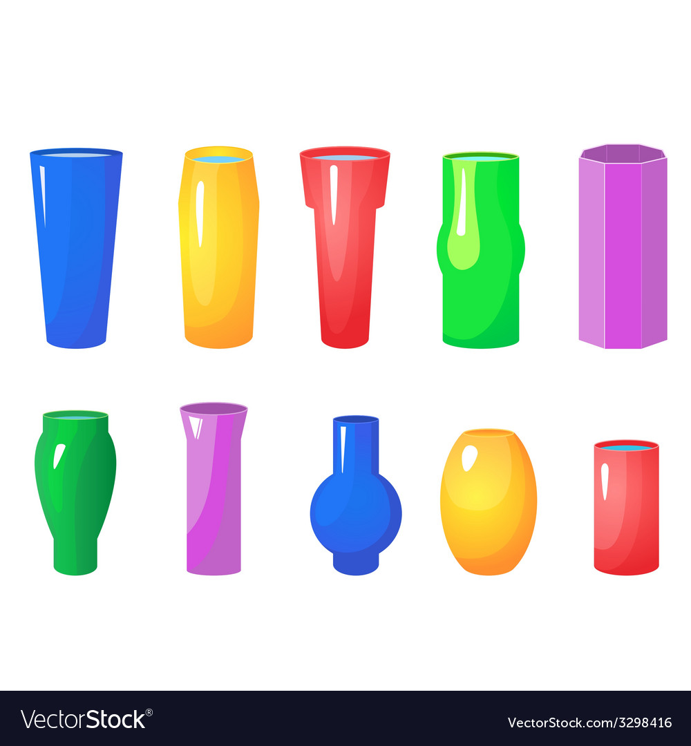 Colorful flowers vases set vector | Price: 1 Credit (USD $1)