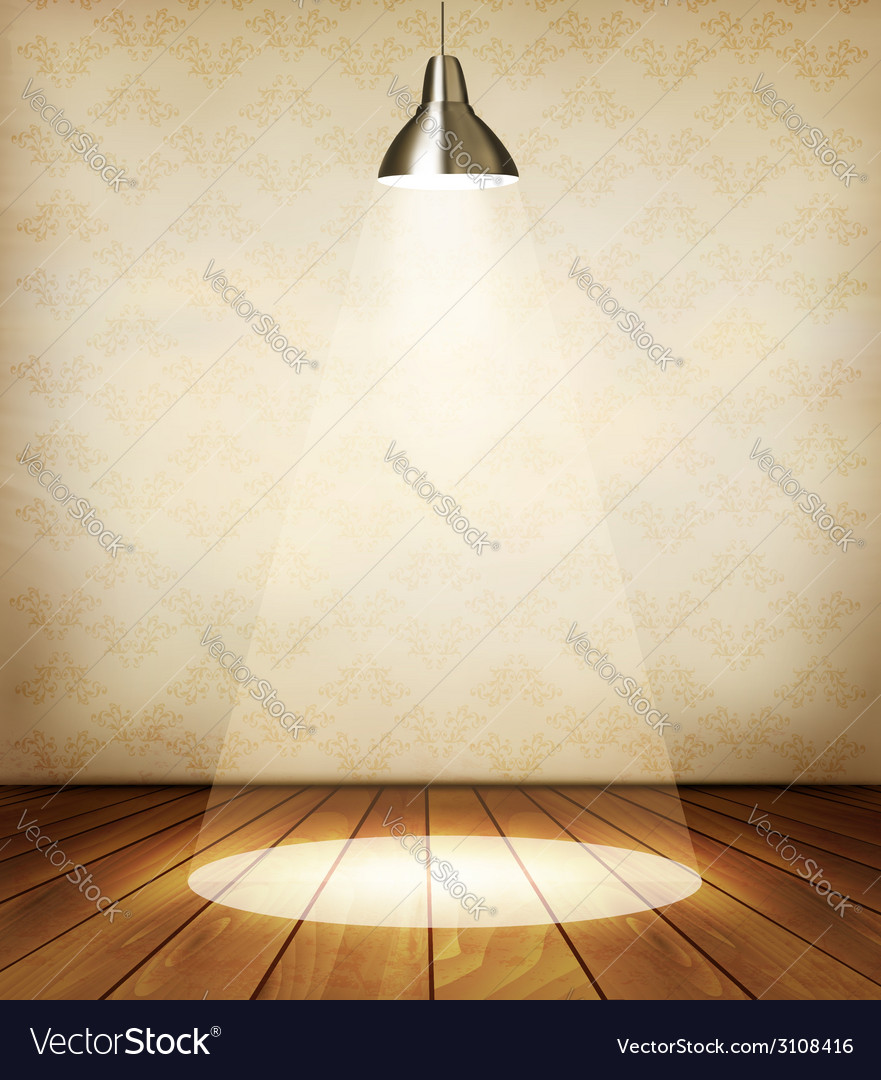 Old room with wooden floor and a spotlight vector | Price: 1 Credit (USD $1)