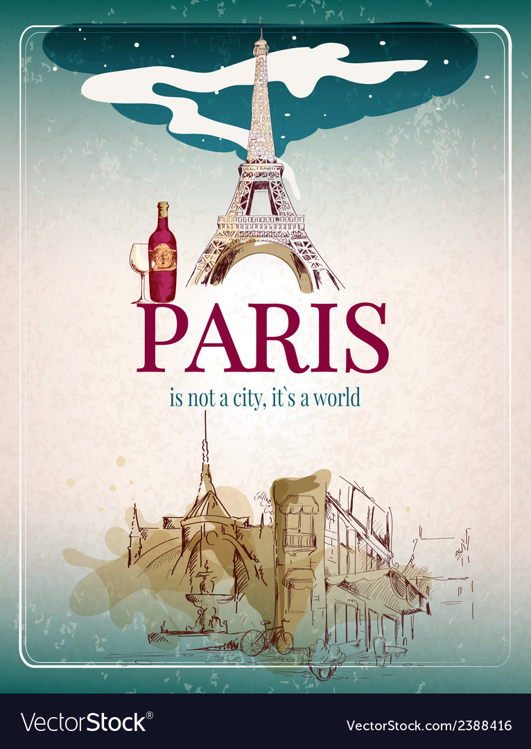 Paris retro poster vector | Price: 1 Credit (USD $1)
